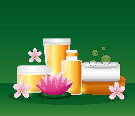 lotion gel soap flowers spa treatment therapy vector illustration