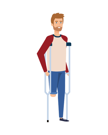man in crutches character vector illustration design Foto de archivo - 123991833