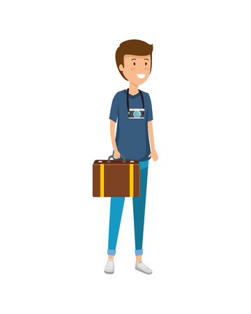 tourist man with suitcase character vector illustration design