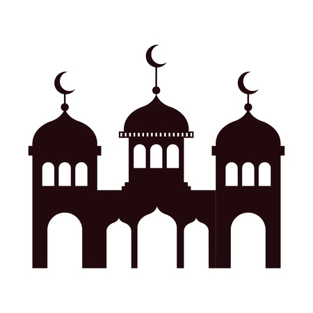 ramadan kareem castle silhouette vector illustration design