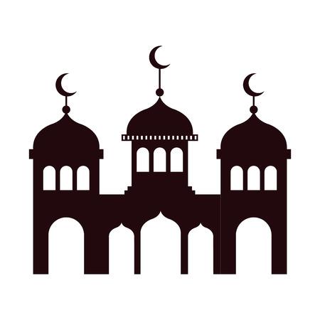 Ramadan Kareem Schloss Silhouette Vektor Illustration Design