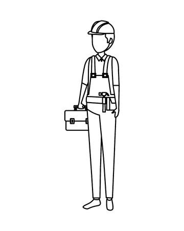 builder worker with helmet vector illustration design Vecteurs