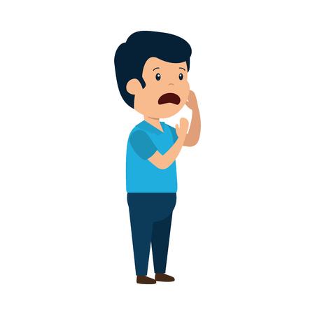 young sad man character vector illustration design