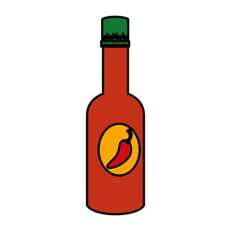chili pepper sauce bottle vector illustration design 스톡 콘텐츠 - 123972465