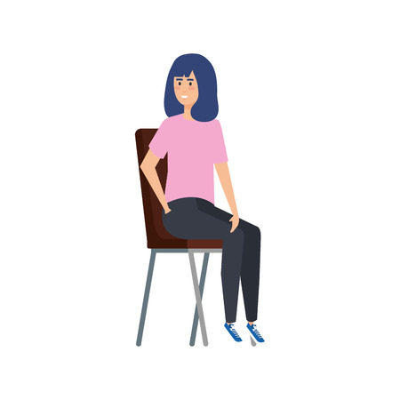 young woman sitting in chair vector illustration design Çizim