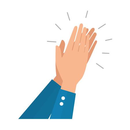 Manos humanas aplaudiendo icono diseño ilustración vectorial