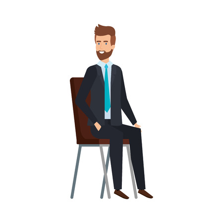 young businessman sitting in chair vector illustration design