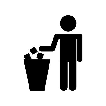 Persona silueta con diseño de ilustración de vector de cubo de basura Ilustración de vector