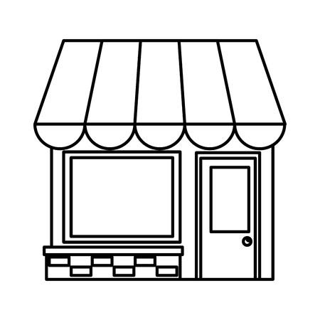 winkel gebouw gevel pictogram vector illustratie ontwerp