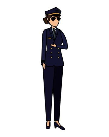 female aviation pilot avatar character vector illustration design Archivio Fotografico - 123972600