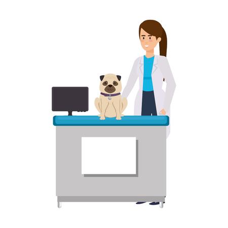 female veterinary with dog in the office vector illustration design Ilustração