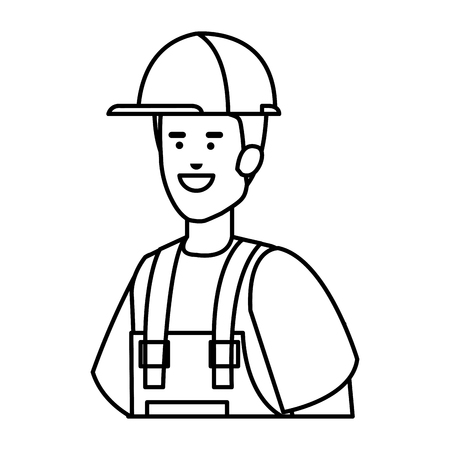 builder worker with helmet vector illustration design