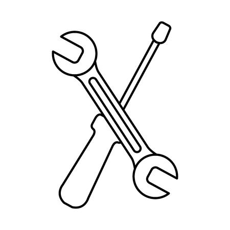 wrench and screwdriver tools vector illustration design Ilustração