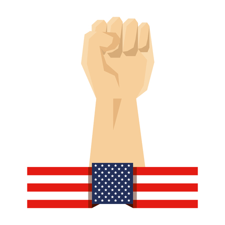 hand human fist and usa flag vector illustration design