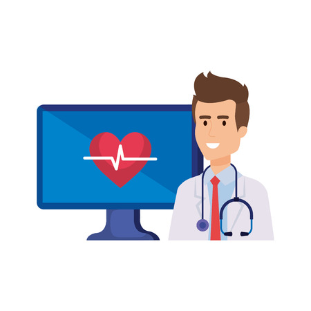 professional doctor with computer telemedicine service vector illustration design