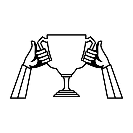 hands lifting trophy cup award vector illustration design Stockfoto - 123973053