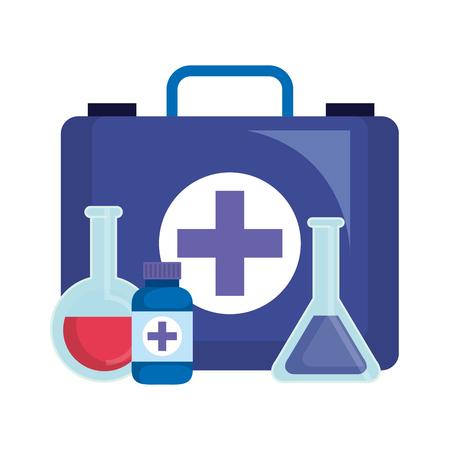 medical kit with tube test and bottle drugs vector illustration design
