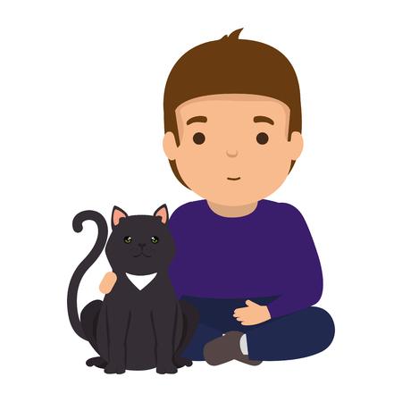 cute little boy with kitty vector illustration design 矢量图像