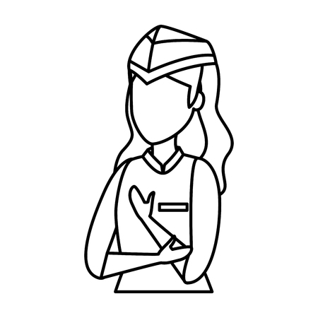 female flight attendant avatar character vector illustration design