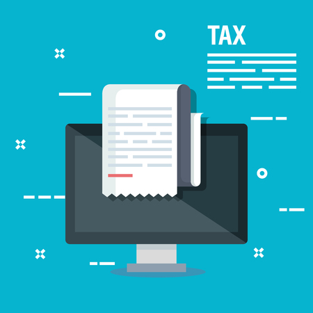 business service tax report and computer vector illustration