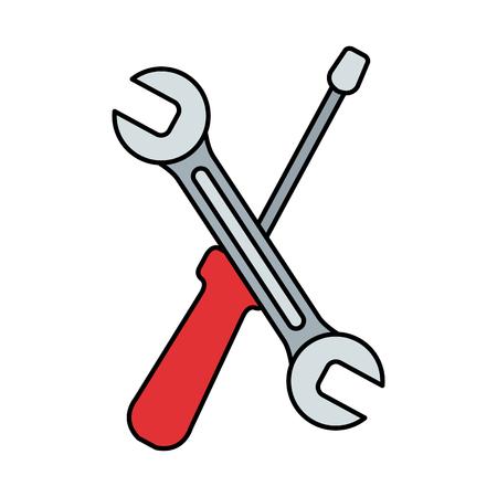 wrench and screwdriver tools vector illustration design Illusztráció