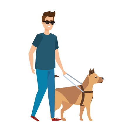 blinder Mann mit Blindenhund-Vektor-Illustrationsdesign