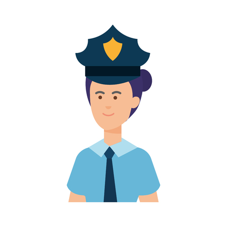 female police officer avatar character vector illustration design