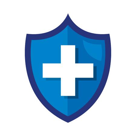 shield with medical cross vector illustration design