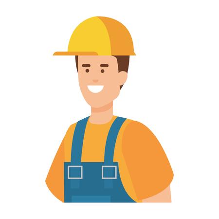 ouvrier constructeur avec casque design illustration vectorielle Vecteurs