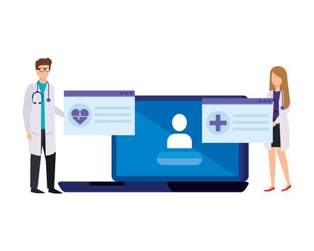 couple of professionals doctors with laptop telemedicine vector illustration design Ilustração
