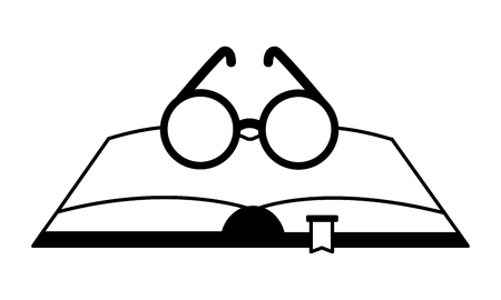 open book with glasses icon vector illustration design