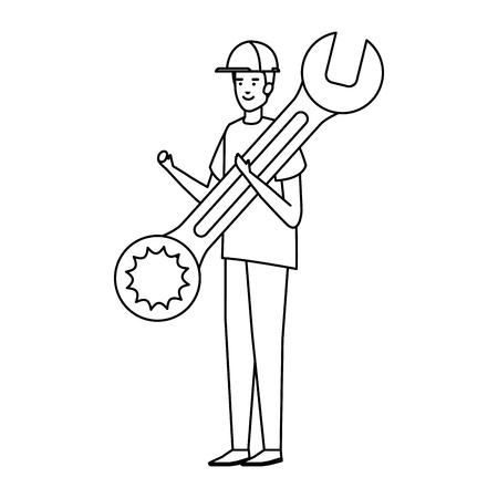 Bauarbeiter mit Helm und Schraubenschlüssel Vector Illustration Design