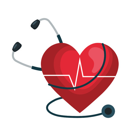 heart cardio iwith stethoscope vector illustration design