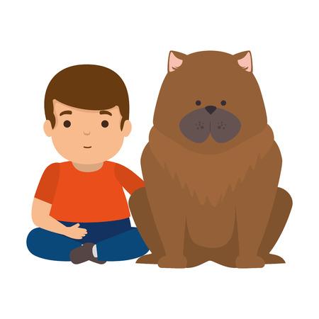 cute little boy with dog character vector illustration design Illusztráció
