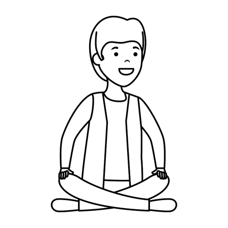 young and casual man with lotus position vector illustration design Foto de archivo - 120367856