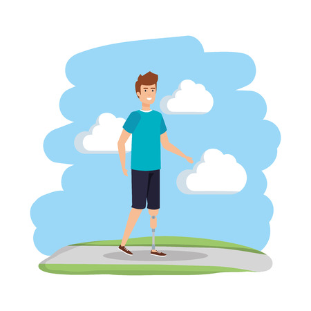 man with foot prosthesis character vector illustration design Illustration