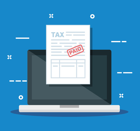 laptop with business service tax report vector illustration Stock Illustratie