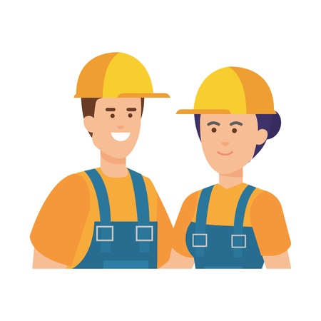 couple builders workers with helmets vector illustration design
