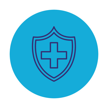 shield with medical cross vector illustration design