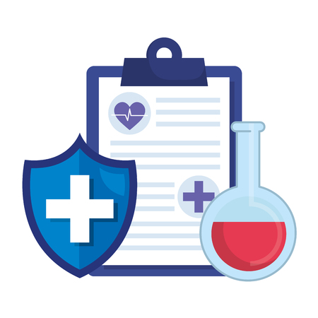 medical order with shield and tube test vector illustration design