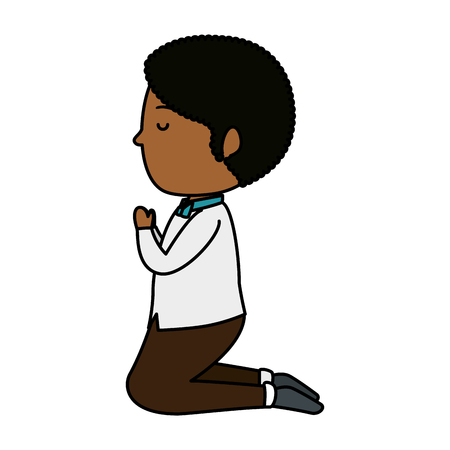 little black boy kneeling first communion vector illustration design