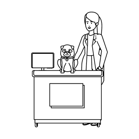 female veterinary with dog in the office vector illustration design Illustration