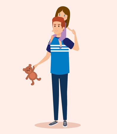 happy man carrying his daughter in the shoulder and teddy vector illustration Ilustração