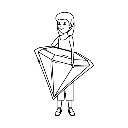 woman lifting diamond luxury vector illustration design Standard-Bild - 123939839