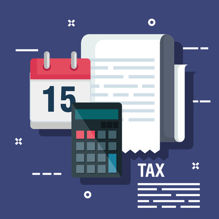 invoice report with calendar finance and calendar vector illustration Ilustração