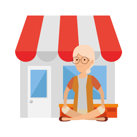 old woman in lotus position with store building vector illustration design