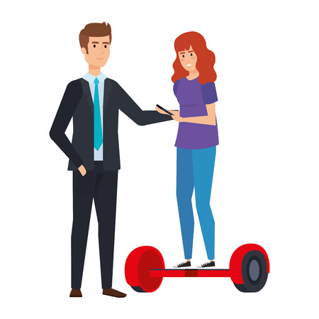young couple in hoverboard electric vector illustration design