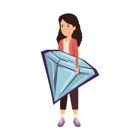 woman lifting diamond luxury vector illustration design Standard-Bild - 123939958
