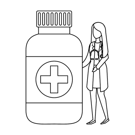 female doctor with stethoscope and bottle drugs vector illustration design Illustration