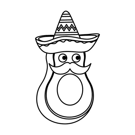 fresh avocado with mexican hat and mustache character vector illustration design Imagens - 123939967